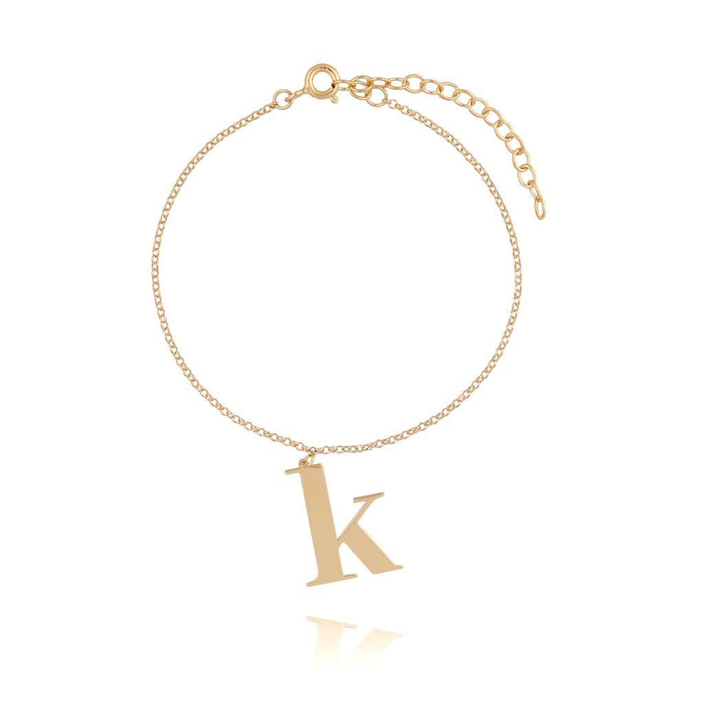 Bransoletka srebrna pozłacana z literką K BAT0044
