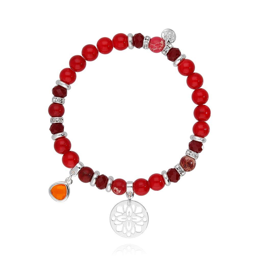 Bransoletka czerwona z koralu i jaspisu - rozetka BMMH3765