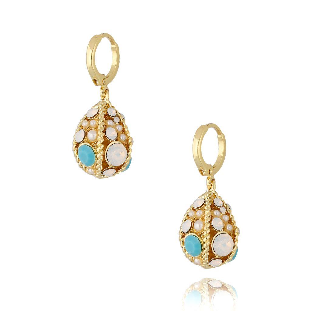 """Kolczyki złote """"jajka Faberge"""" z błękitnymi kryształkami KRG0620"""