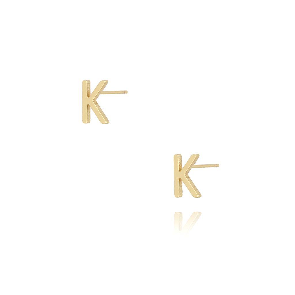 Kolczyki wkrętki z literką K złote KAT0015