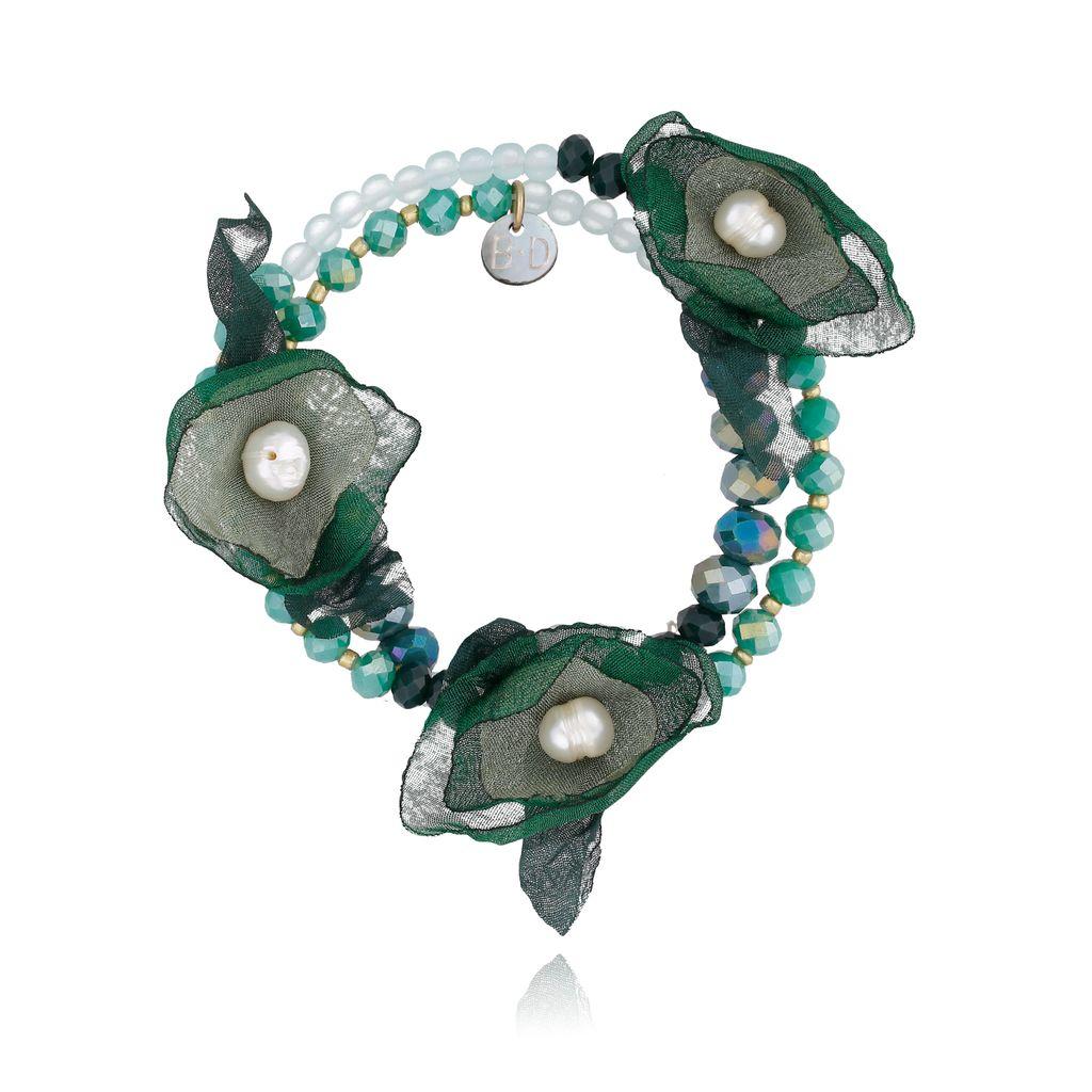 Bransoletka z kryształkami i  zielonymi kwiatami  BBL0148