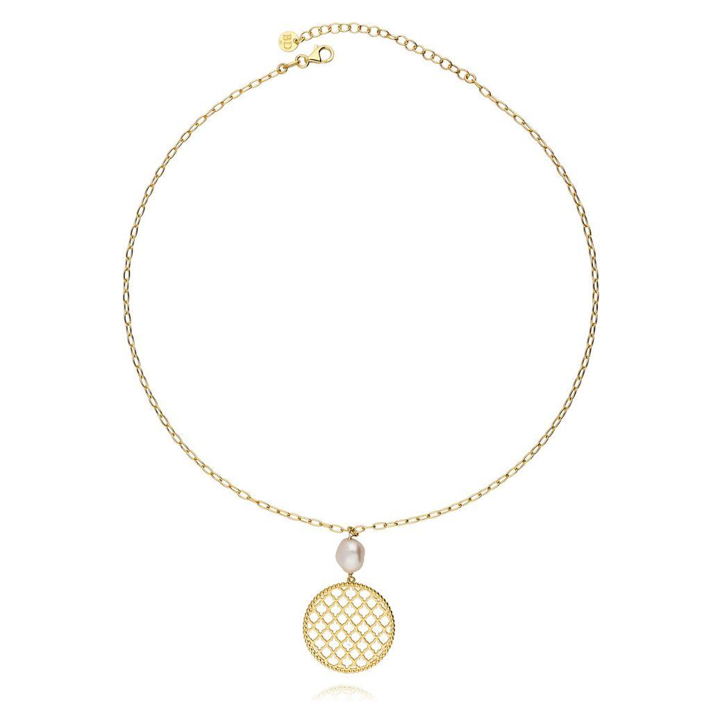 Naszyjnik srebrny pozłacany rozeta z perłą NCI0046