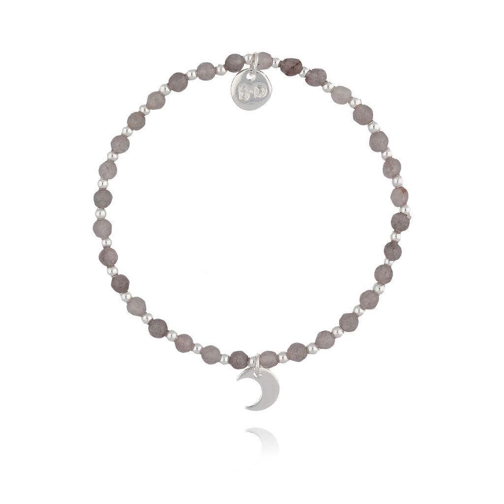 Bransoletka z szarymi jadeitami i srebrnym księżycem  BTW0254