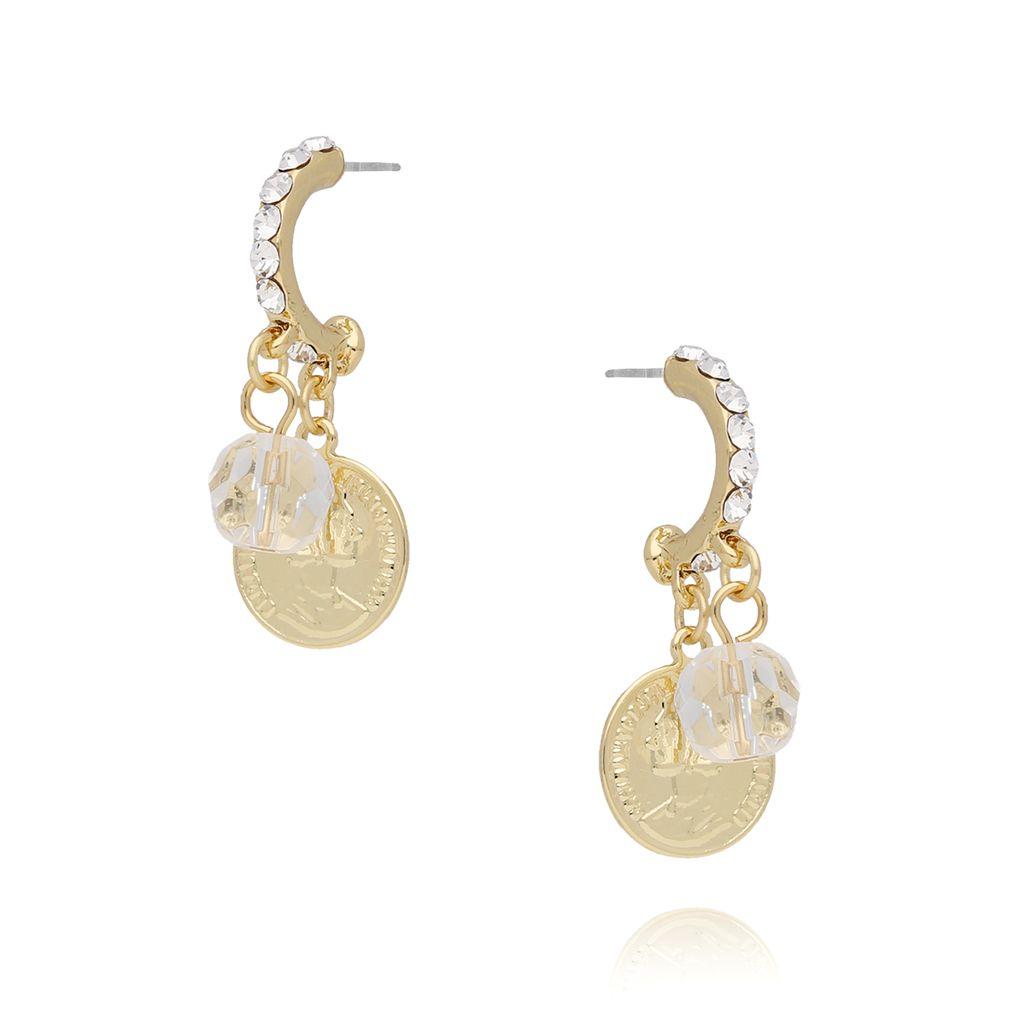 Kolczyki ze złotymi monetkami i kryształkami KRG0543