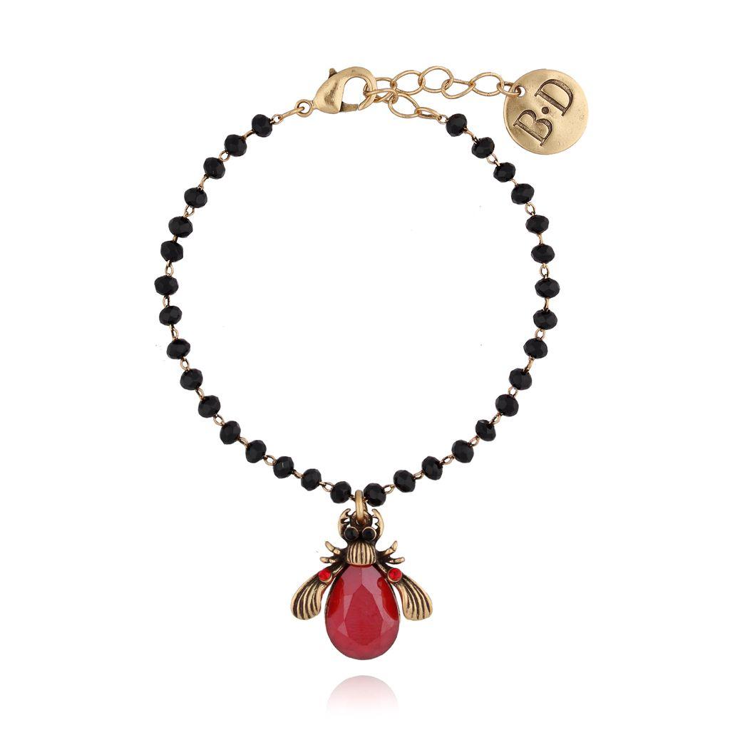Bransoletka czerwonym żuk z kryształkami BMI0028