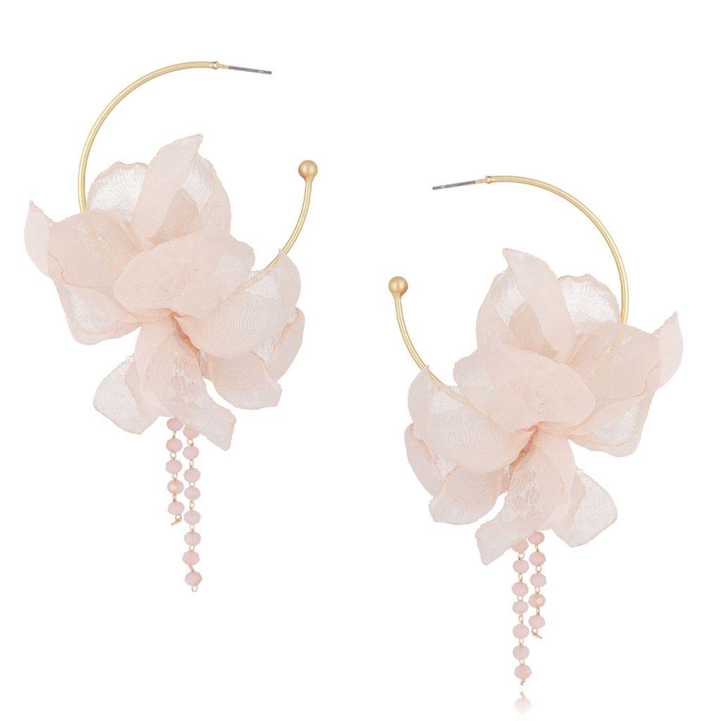 Kolczyki jedwabne kwiaty kremowo różowe II KBL0493