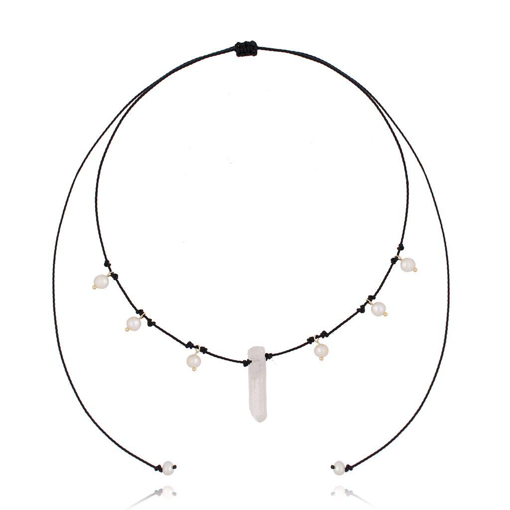 Naszyjnik z kryształem górskim i perłami  NPA0099