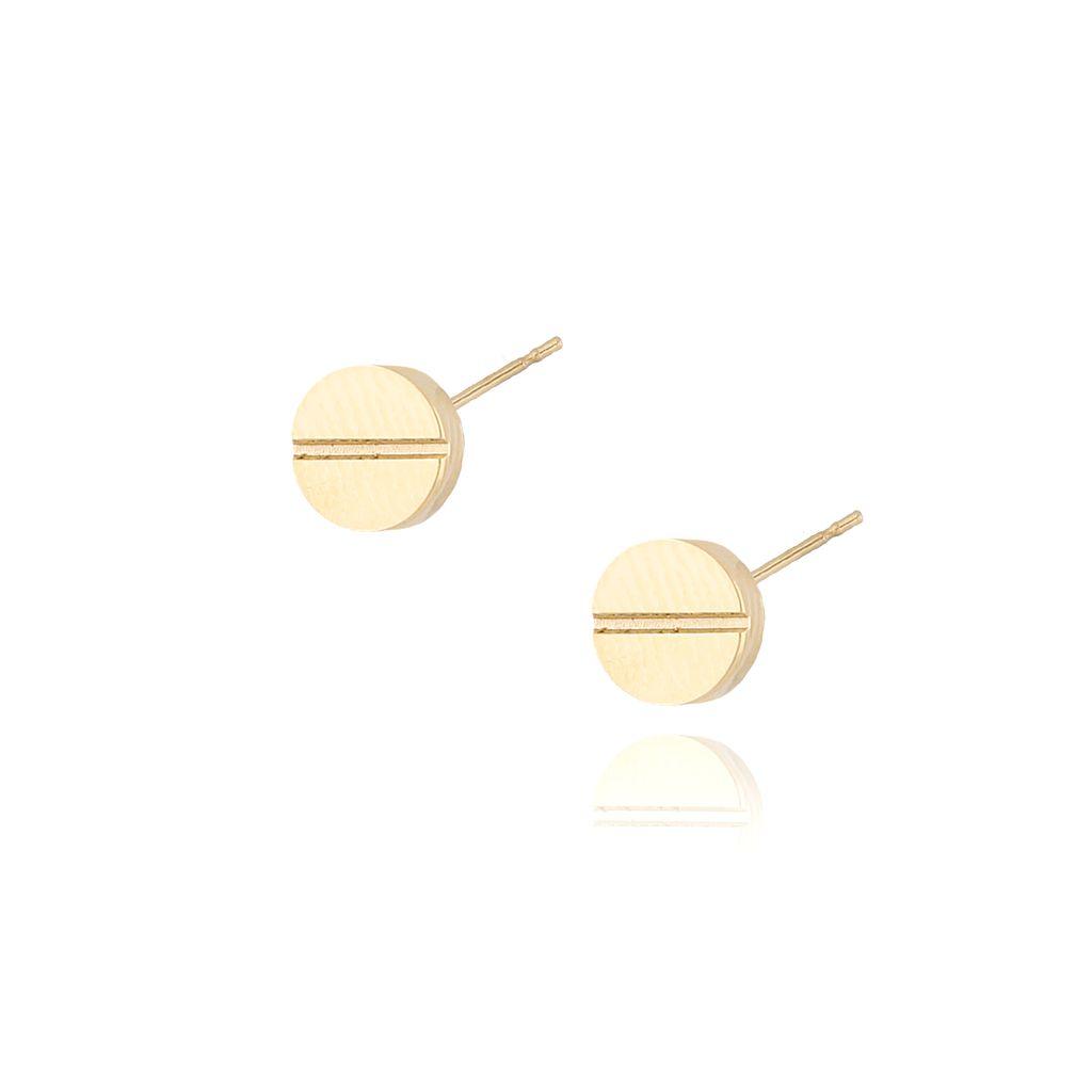 Kolczyki złote wkrętki z przecięciem stal szlachetna KSA0048