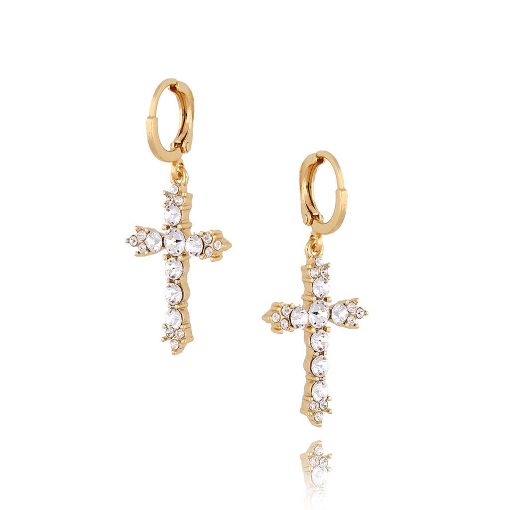 Kolczyki złote krzyże z transparentnymi kryształkami KRG0496