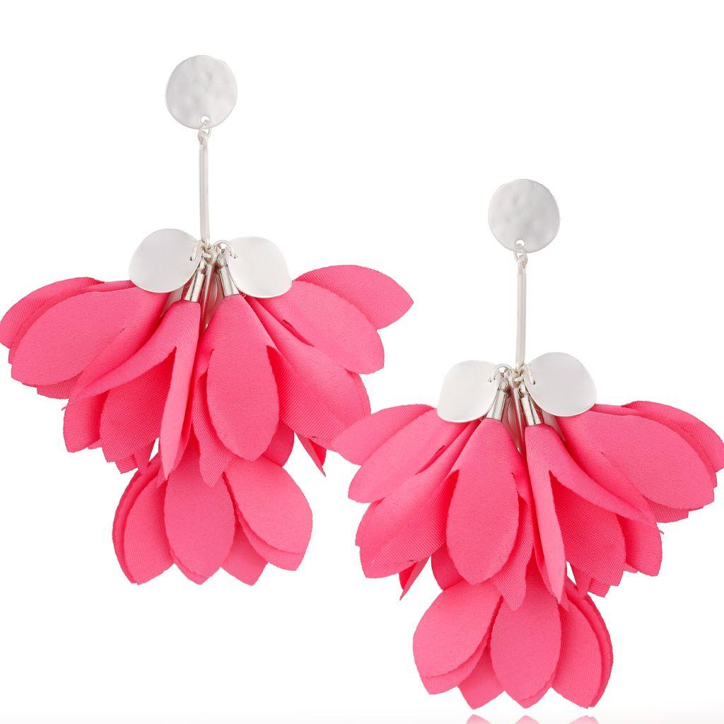 Kolczyki satynowe kwiaty różowe KBL0647