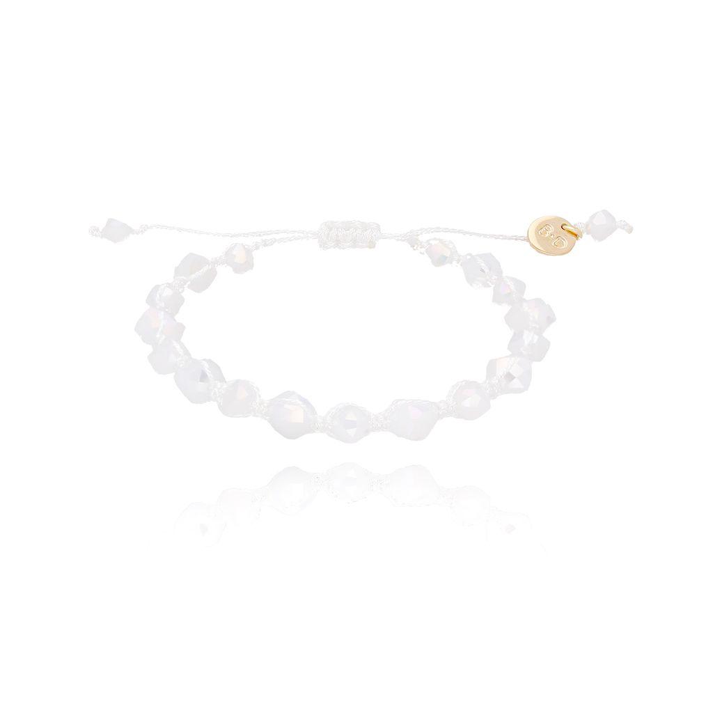 Bransoletka pleciona z białymi kryształkami BBL0107
