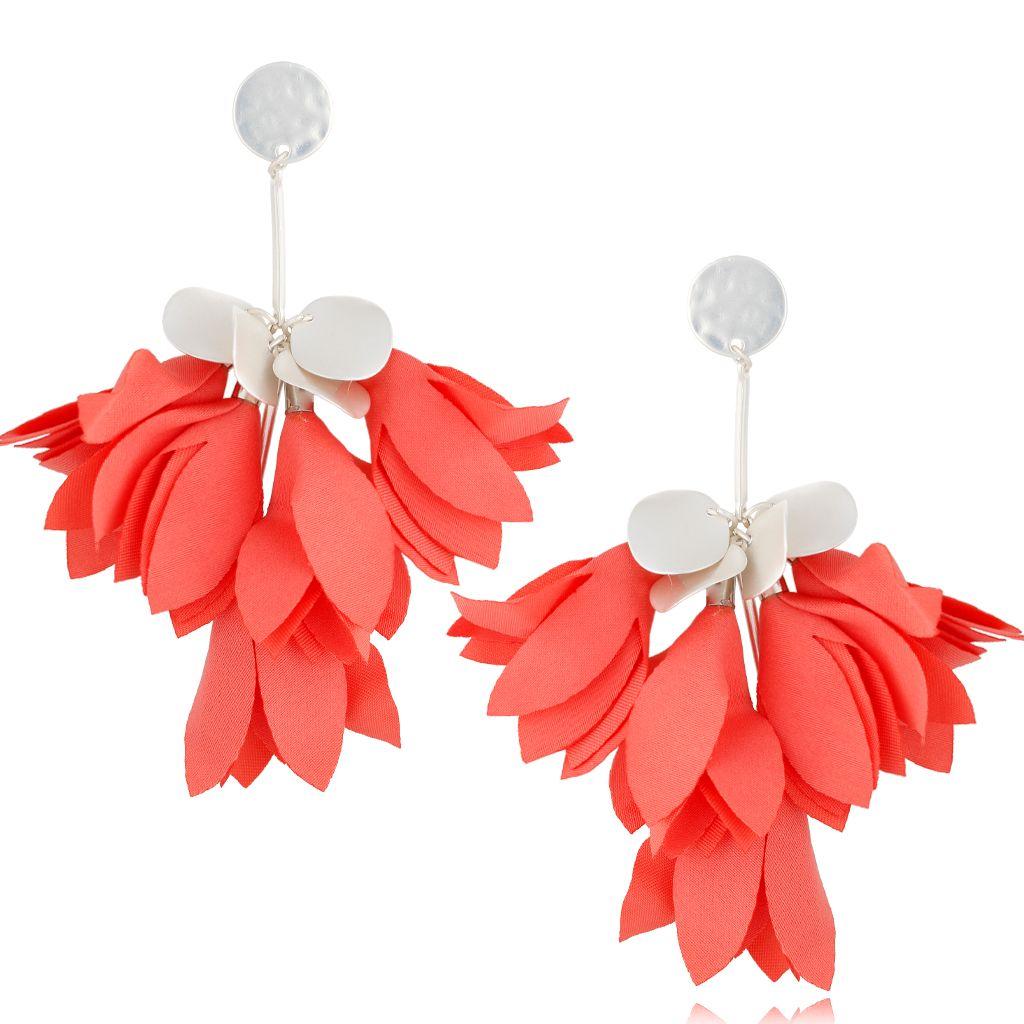 Kolczyki satynowe kwiaty koralowe KBL0515