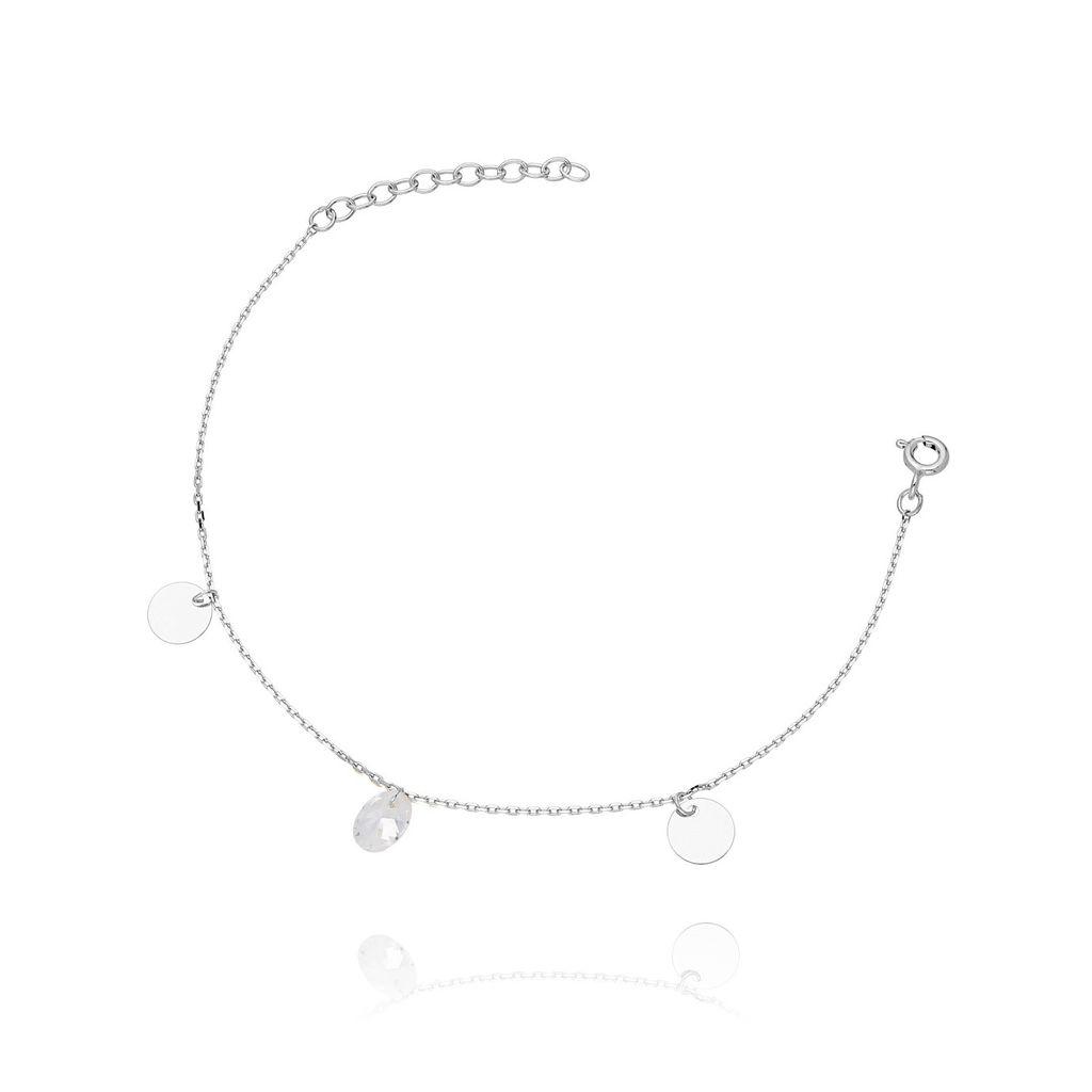Bransoletka ze srebra z kryształkiem BSE0008