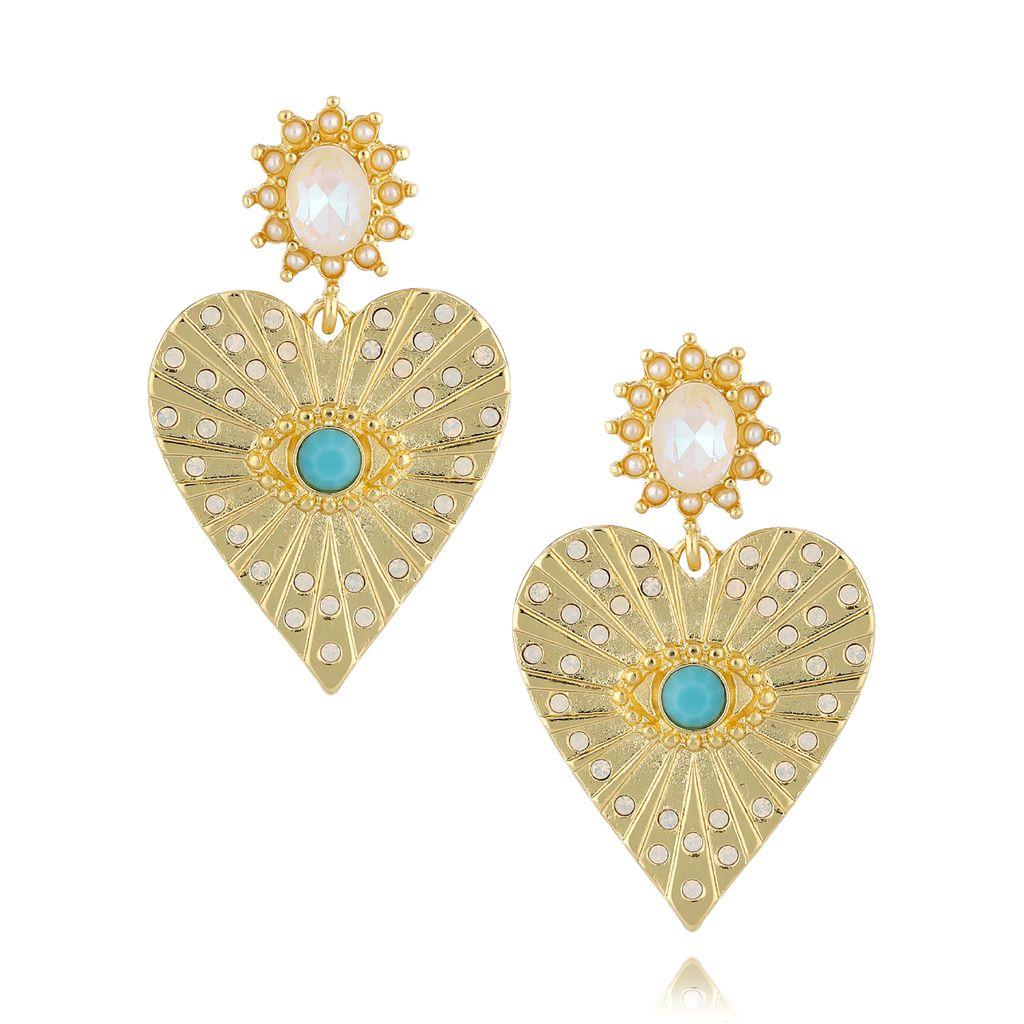 Kolczyki serca z turkusowymi i mlecznymi kryształkami KRG0642