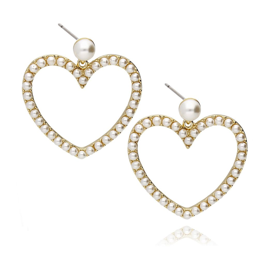 Kolczyki złote serca z perełkami KPE0013