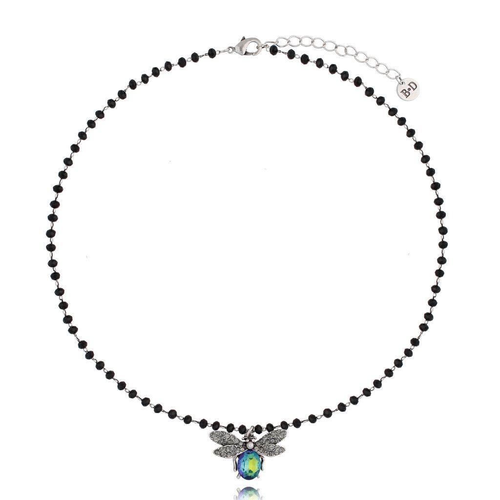 Naszyjnik niebiesko zielony owad z kryształkami  NMI0039