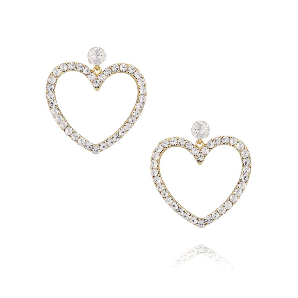 Kolczyki złote serca z kryształkami KRG0546