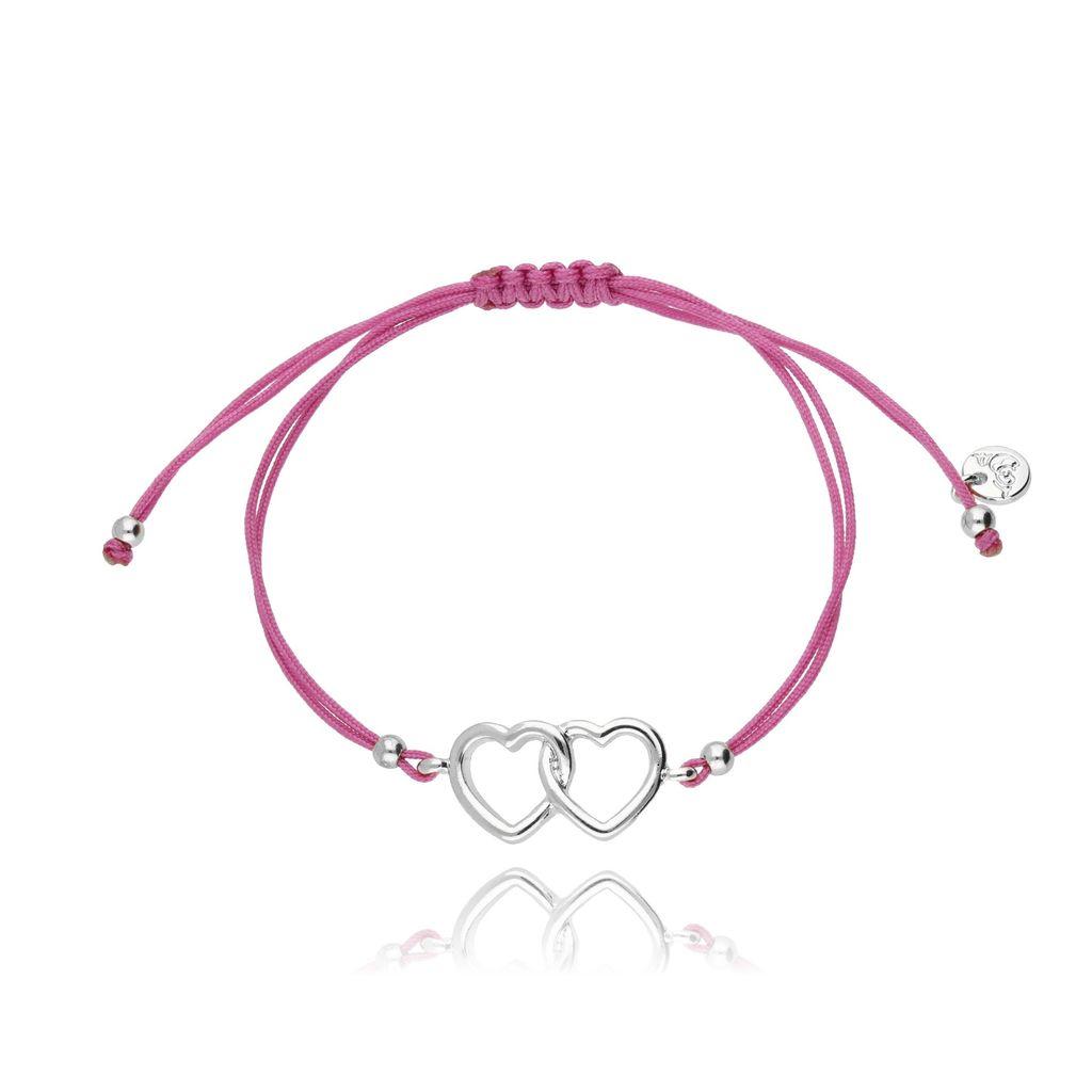 Bransoletka na sznurku różowa - serca BGL0203