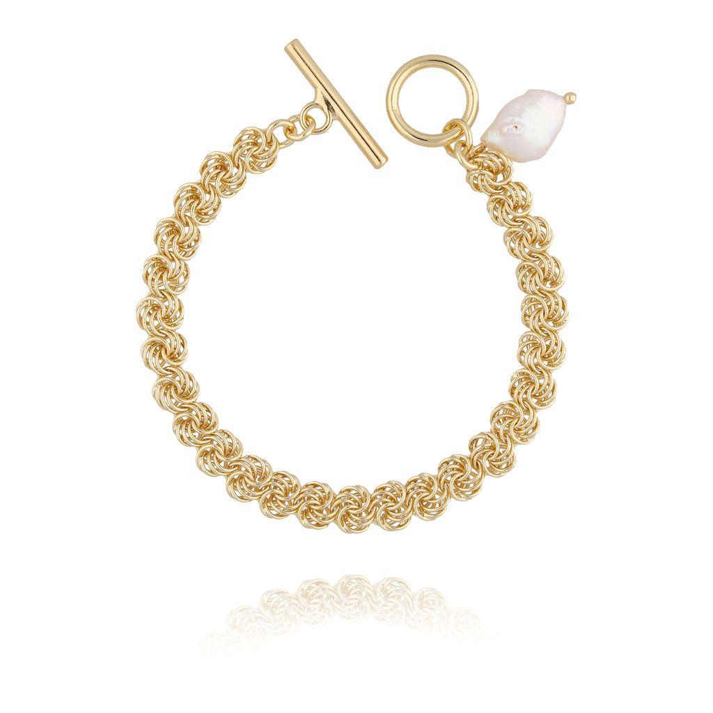 Bransoletka złota z perłą  i łańcuszkiem BPE0027