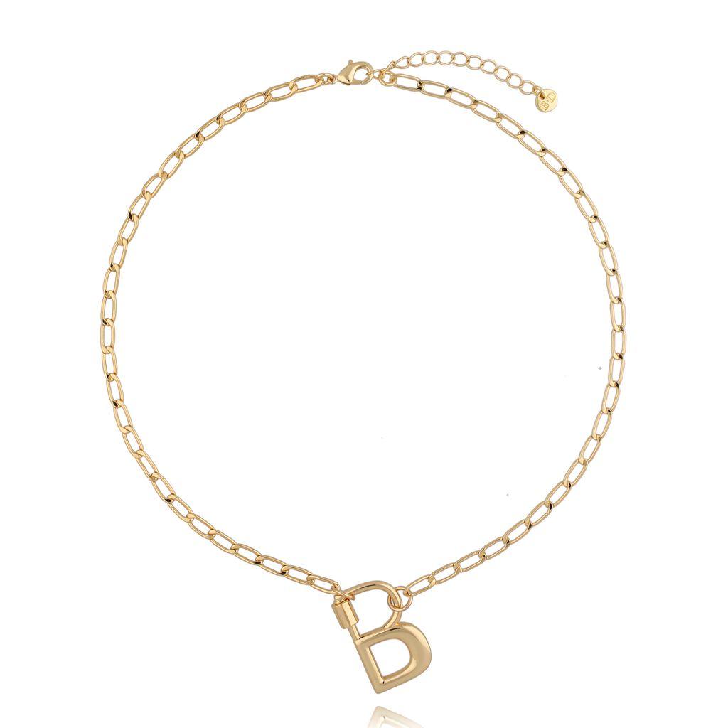 Naszyjnik złoty łańcuch z literą B NSL0032
