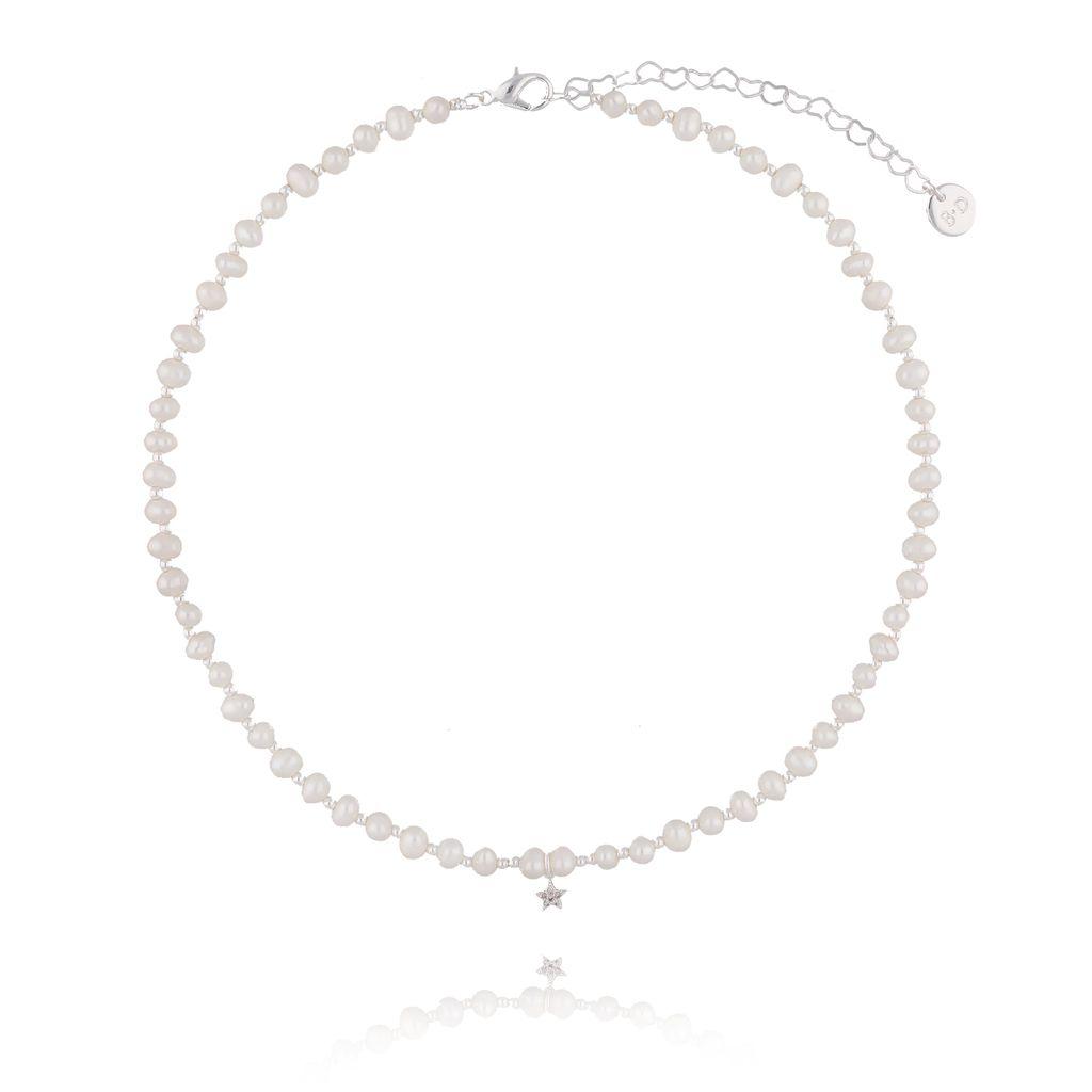 Naszyjnik srebrny z perełek z gwiazdką NPE0035