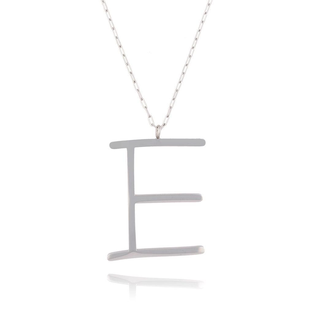 Naszyjnik ze stali szlachetnej srebrny literka E  Alphabet NAT0004