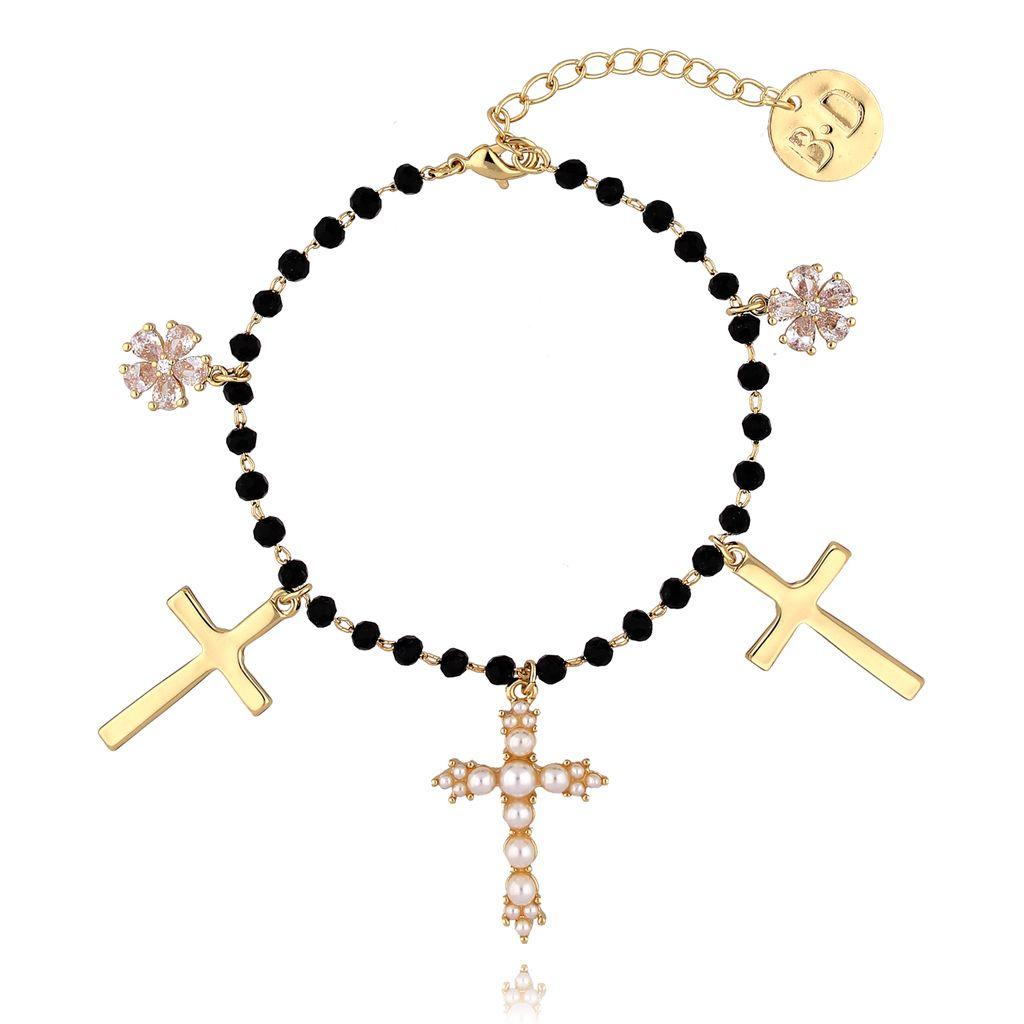 Bransoletka złota z kryształkami i krzyżykami  BRG0099