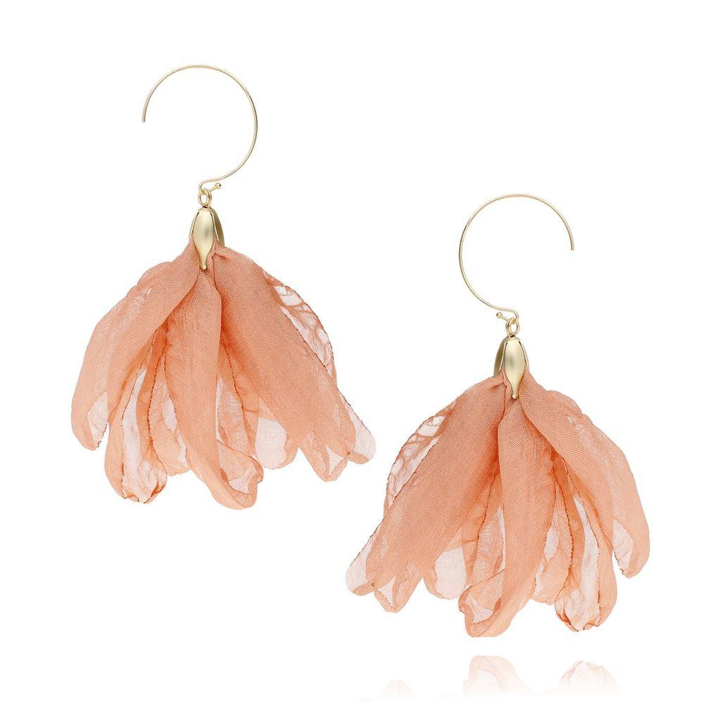 Kolczyki jedwabne kwiaty - łososiowy Blossom KBL0208