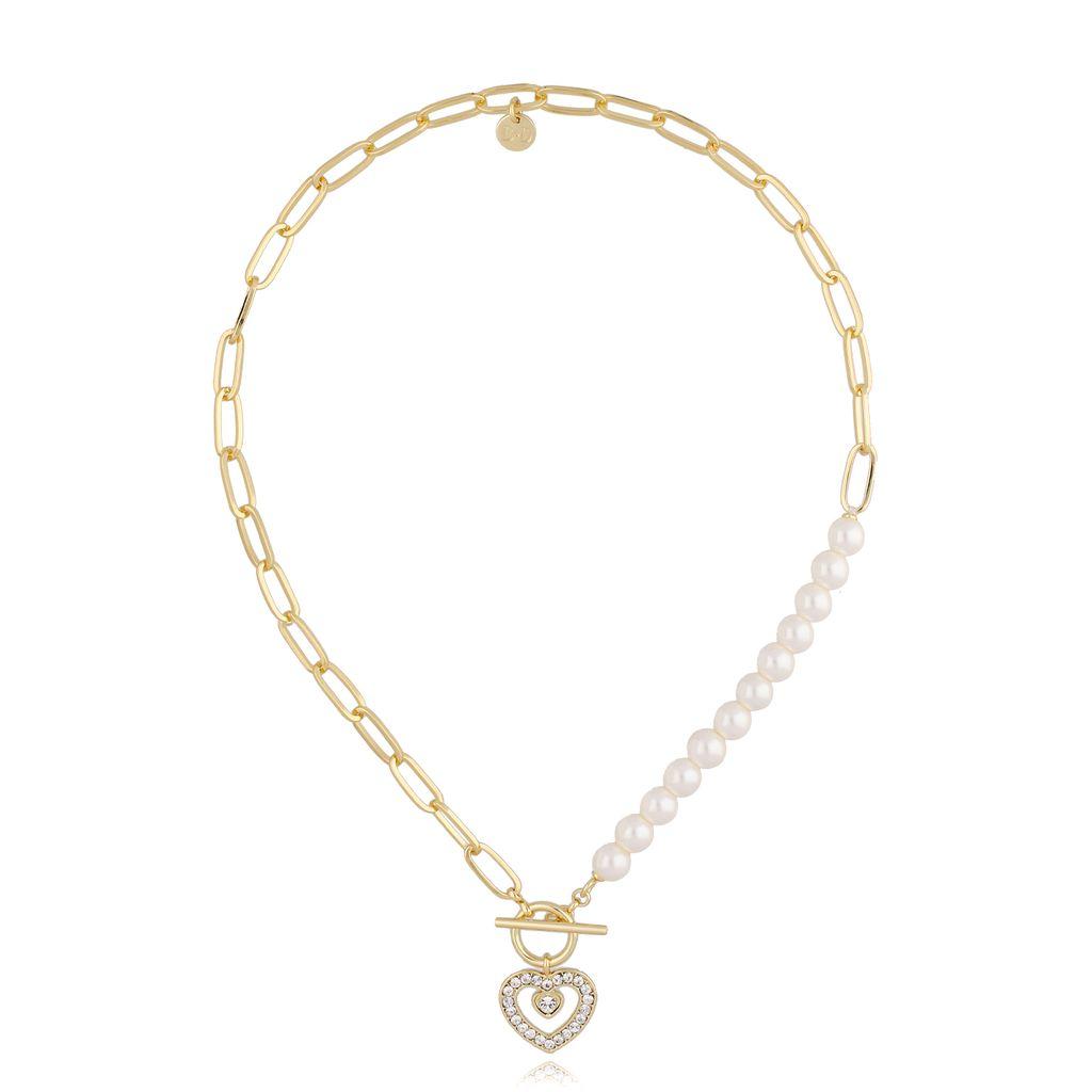 Naszyjnik złoty z serduszkiem i perłami NRG0247