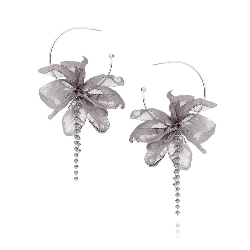 Kolczyki jedwabne kwiaty - szare KBL0167