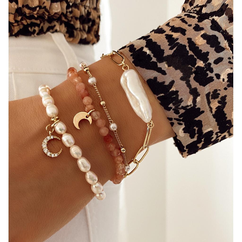 Bransoletka złota z perełkami  i łańcuszkiem BPE0014