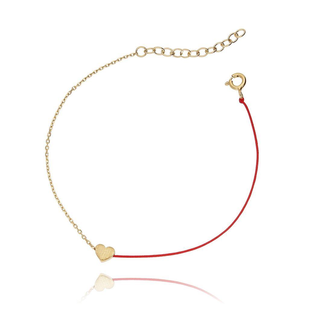 Bransoletka srebrna pozłacana z czerwonym sznurkiem - serduszko BSE0051 N