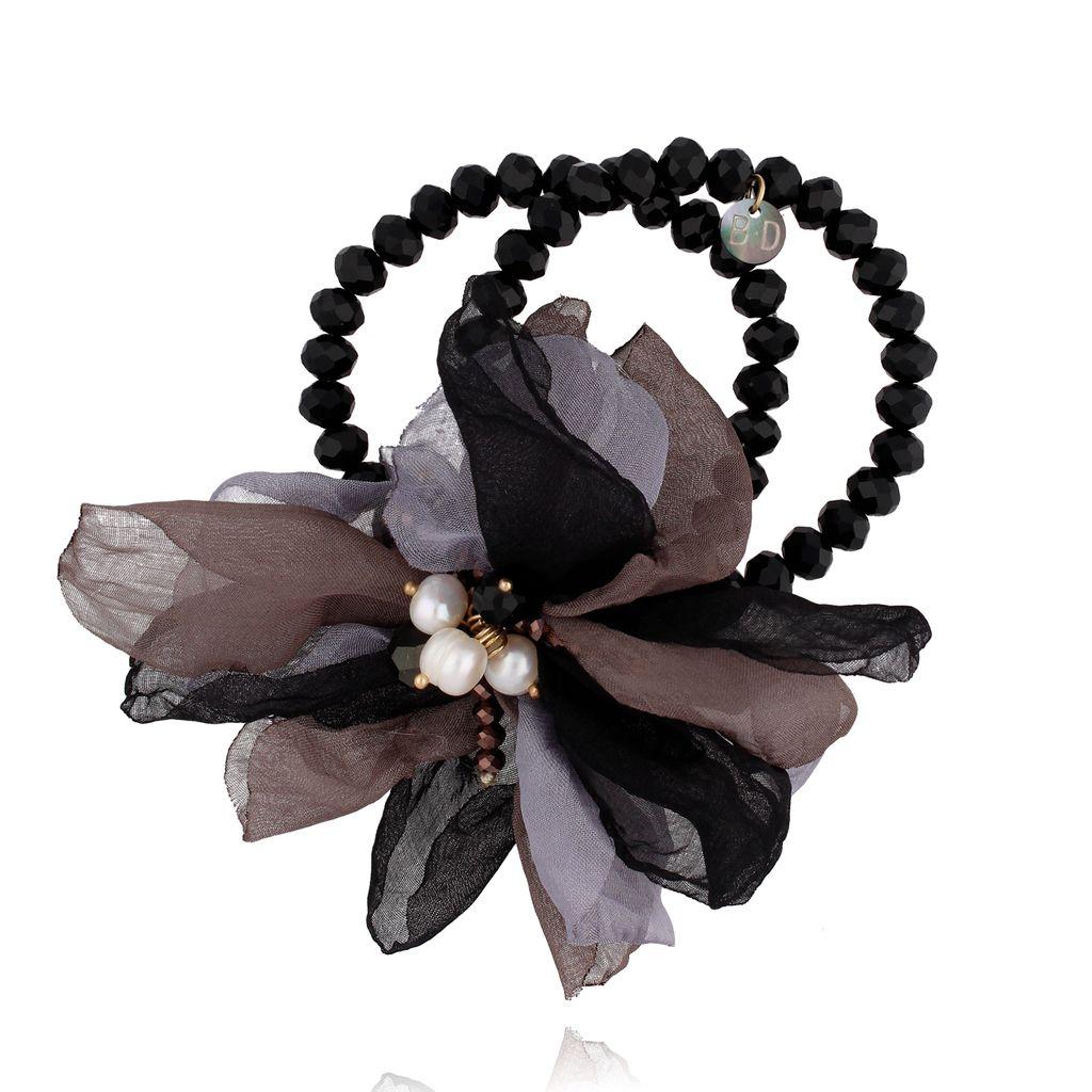 Bransoletka z kryształkami i  brązowo szarym kwiatem  BBL0127