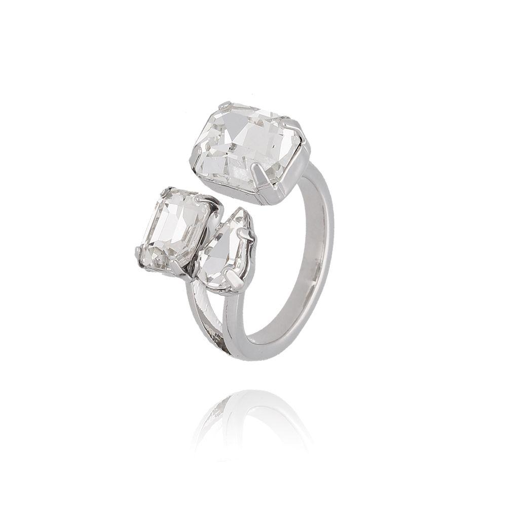 Pierścionek srebrny z transparentnymi kryształami PRG0091 rozmiar 12