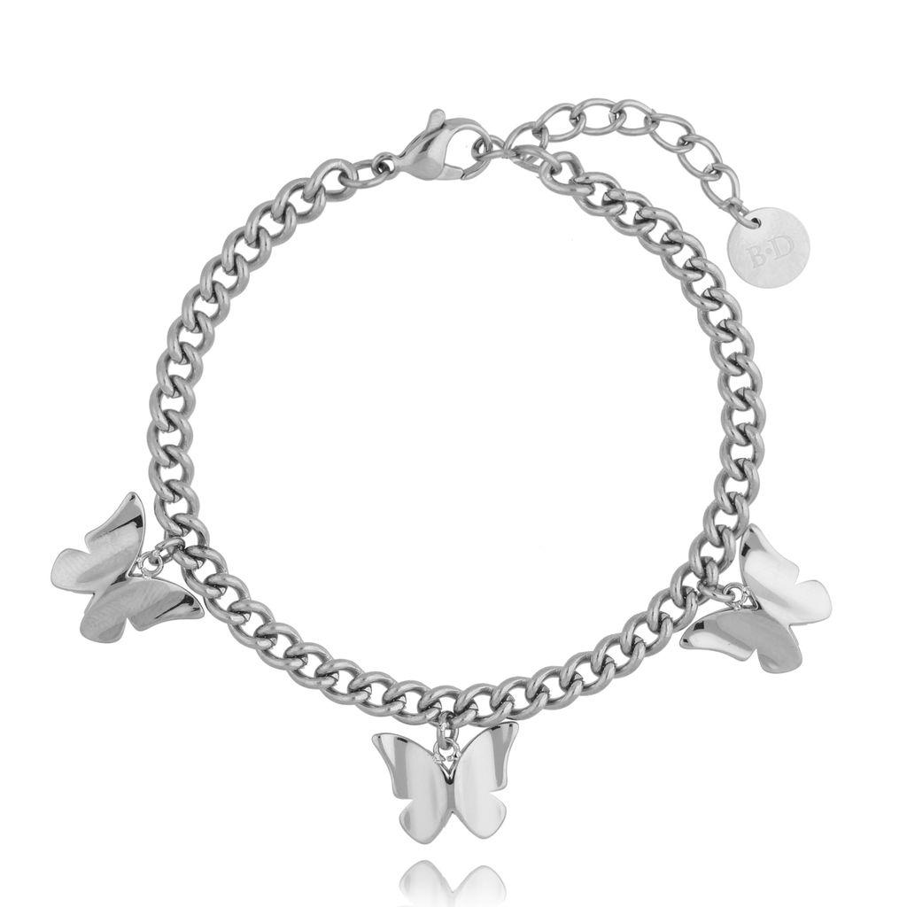 Bransoletka srebrna ze stali szlachetnej z motylkami BSA0108