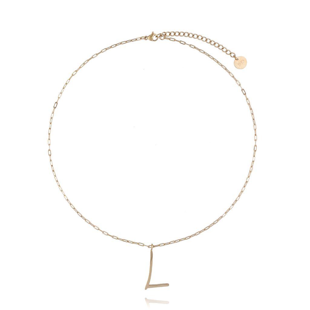 Naszyjnik ze stali szlachetnej złoty literka L mała NAT0165