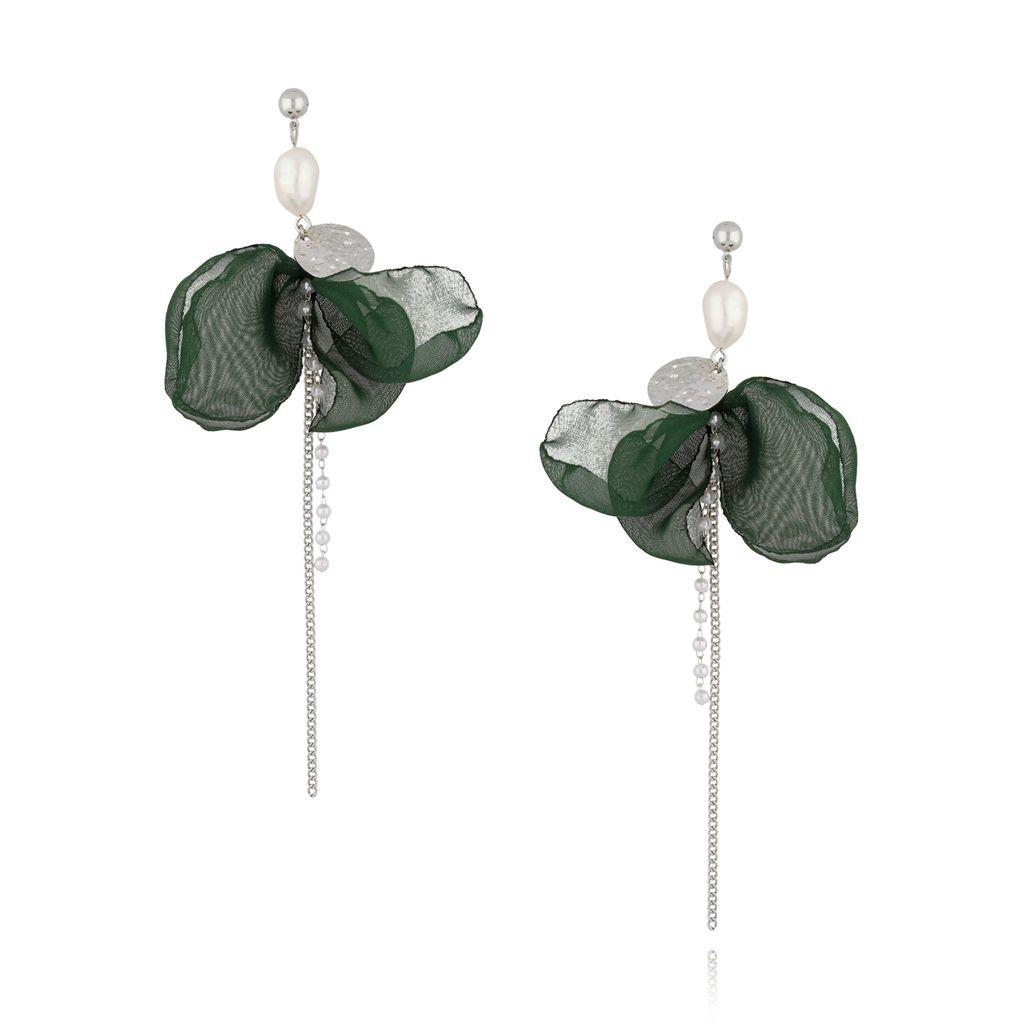 Kolczyki jedwabne z monetką zielone KBL0335