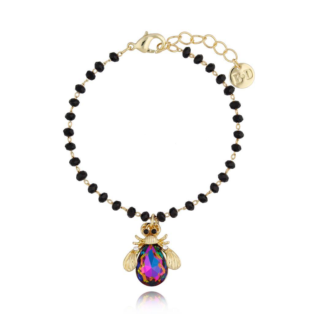 Bransoletka z fioletowym owadem z kryształkami BMI0048