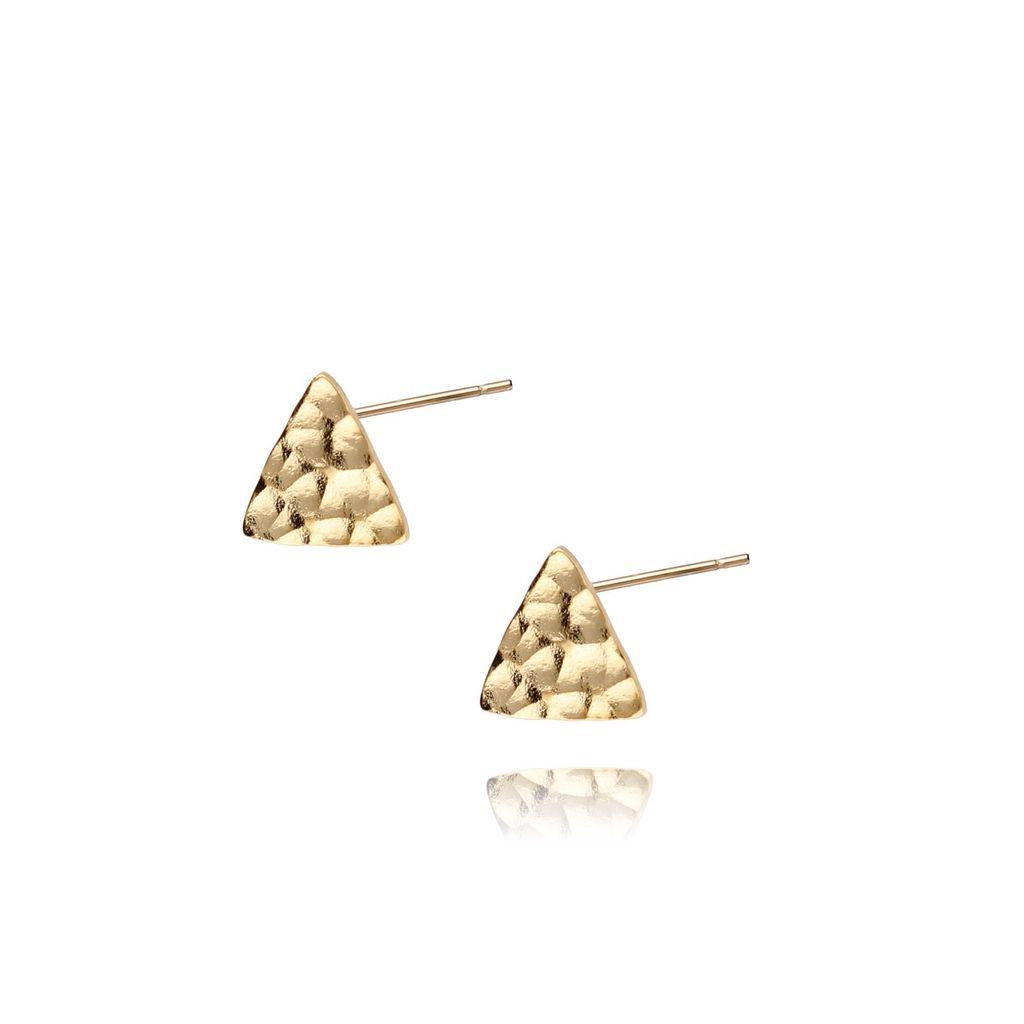 Kolczyki złote trójkąty młotkowane ze stali szlachetnej KSA0037
