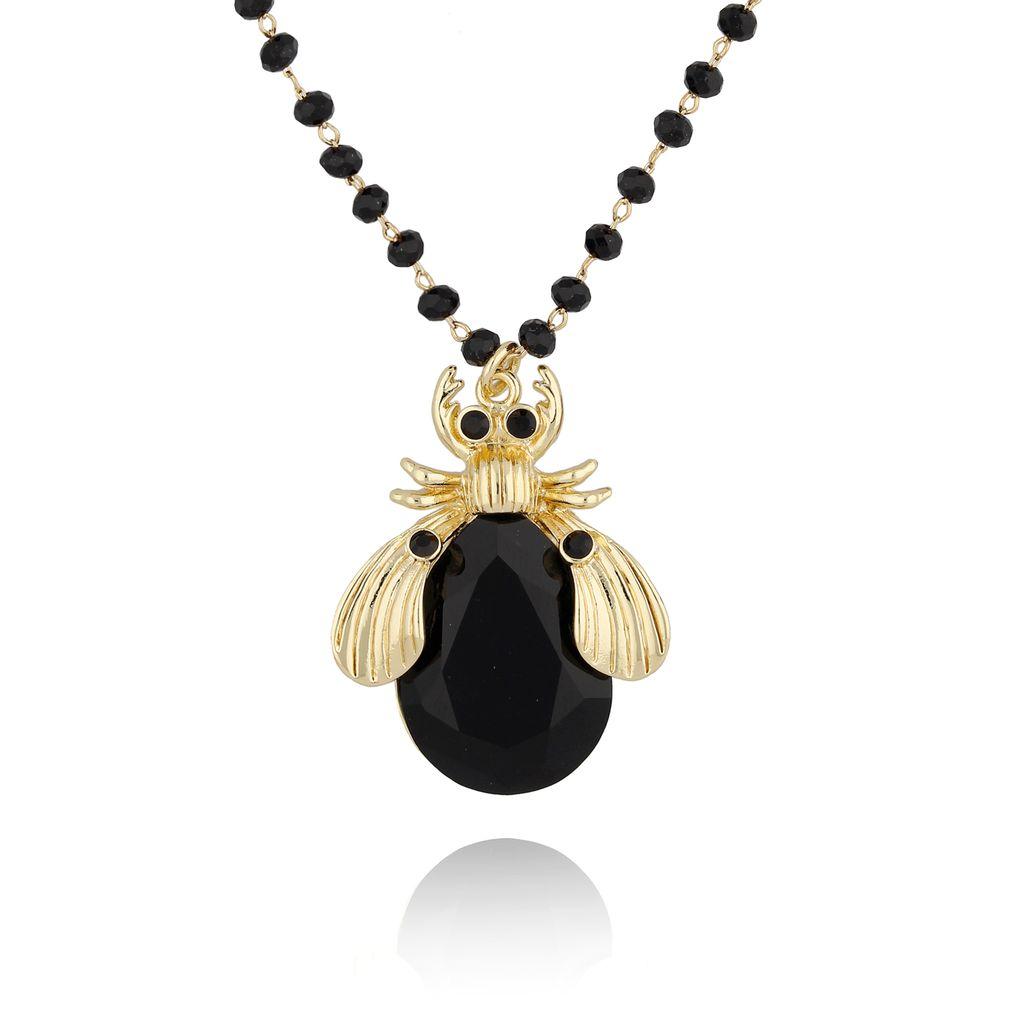 Naszyjnik czarny owad długi NMI0041