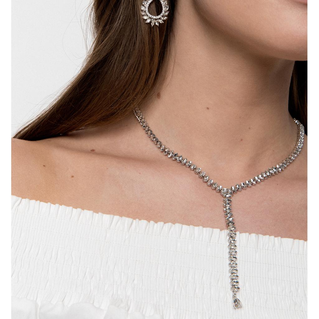 Naszyjnik  srebrny ze srebrnymi kryształami  NS0012