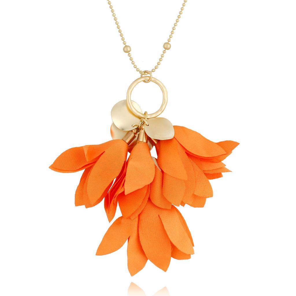 Naszyjnik złoty z kwiatem pomarańczowym NBL0028