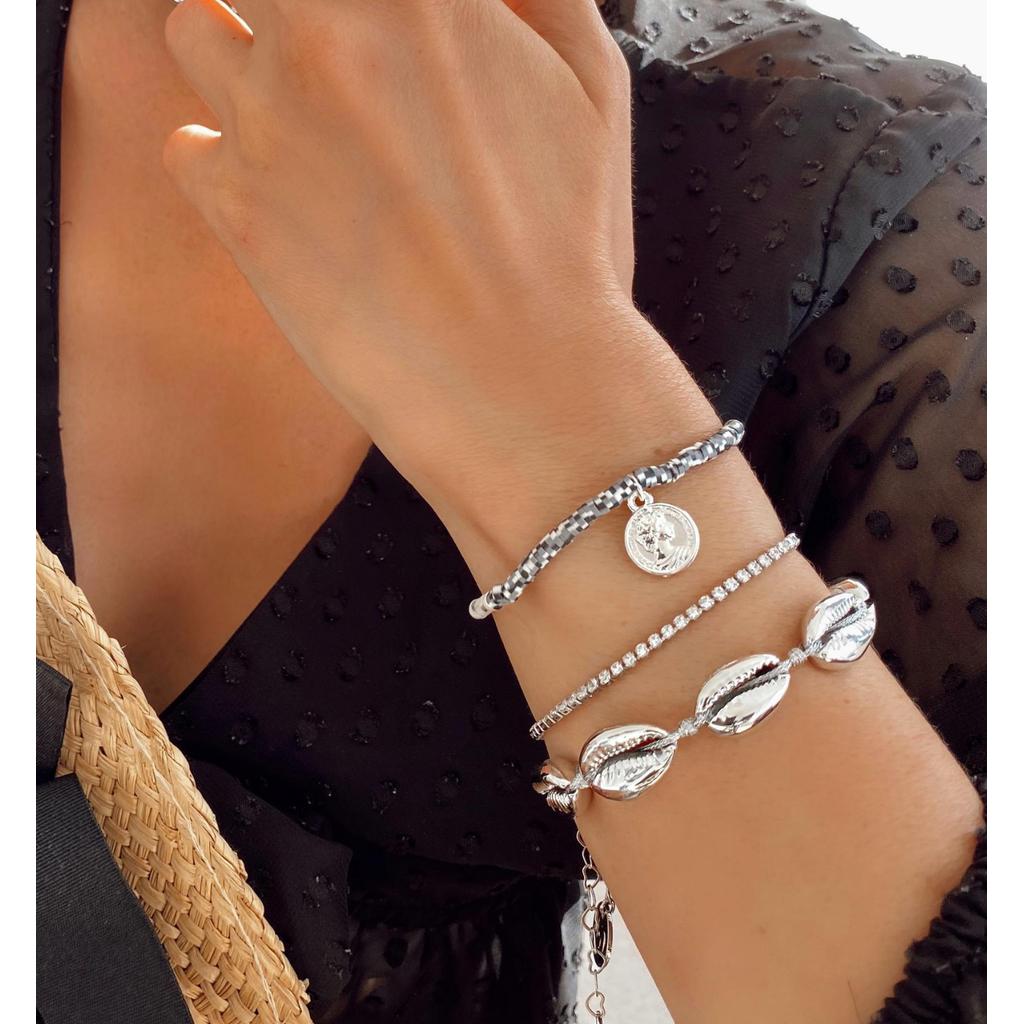 Bransoletka ze srebrnymi muszelkami  Ocean Vibes BOV0072