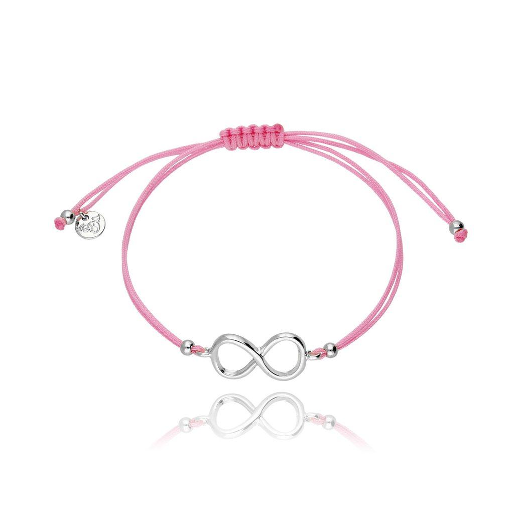 Bransoletka na sznurku różowa - nieskończoność BGL0205