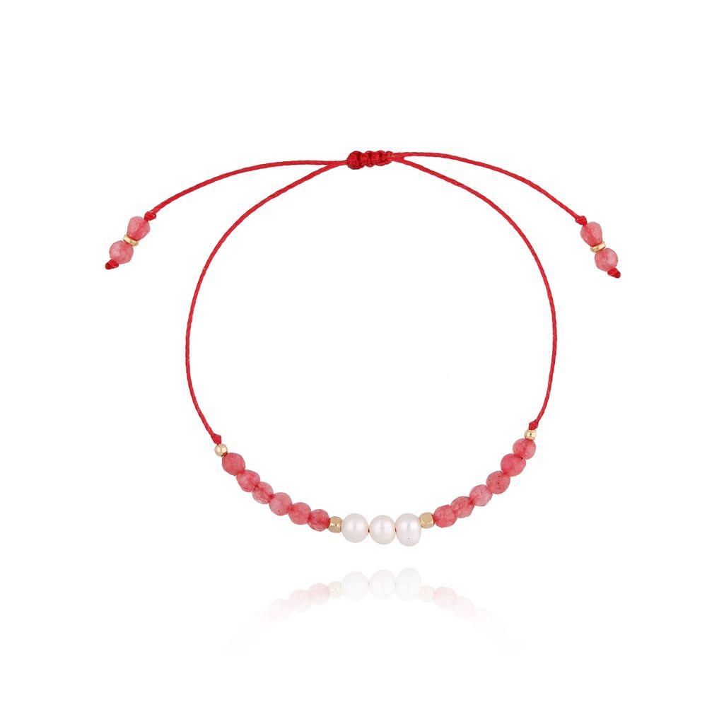 Bransoletka  czerwona z perłami i sznurkiem BTW0262