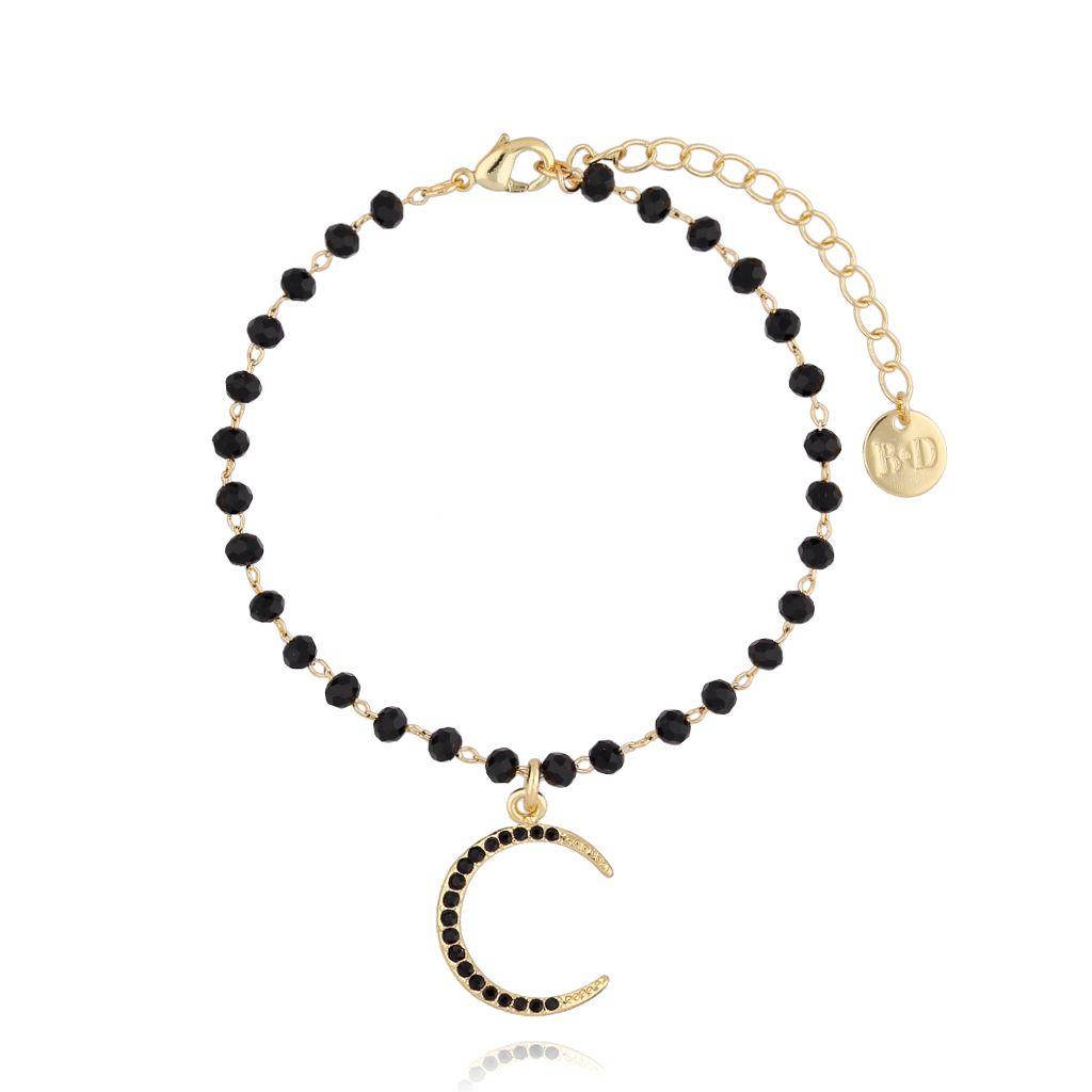 Bransoletka złota z kryształkami i księżycem BRG0177