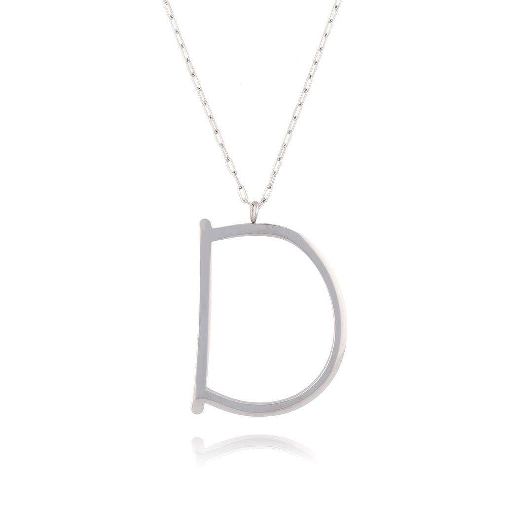 Naszyjnik ze stali szlachetnej srebrny literka D  Alphabet NAT0003