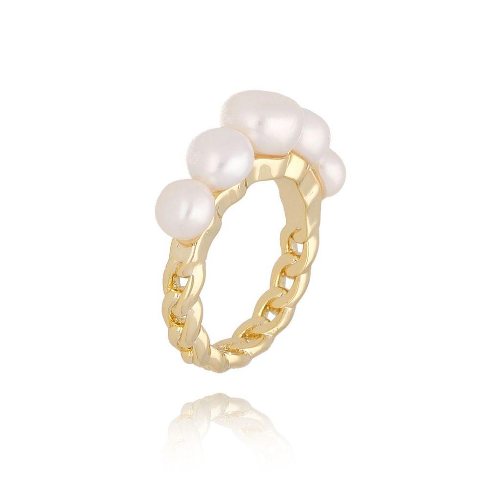 Pierścionek złoty z perłami PPE0032 rozmiar 19