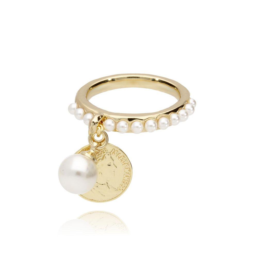 Pierścionek ze złotą monetką i perełkami PRG0141 rozmiar 17