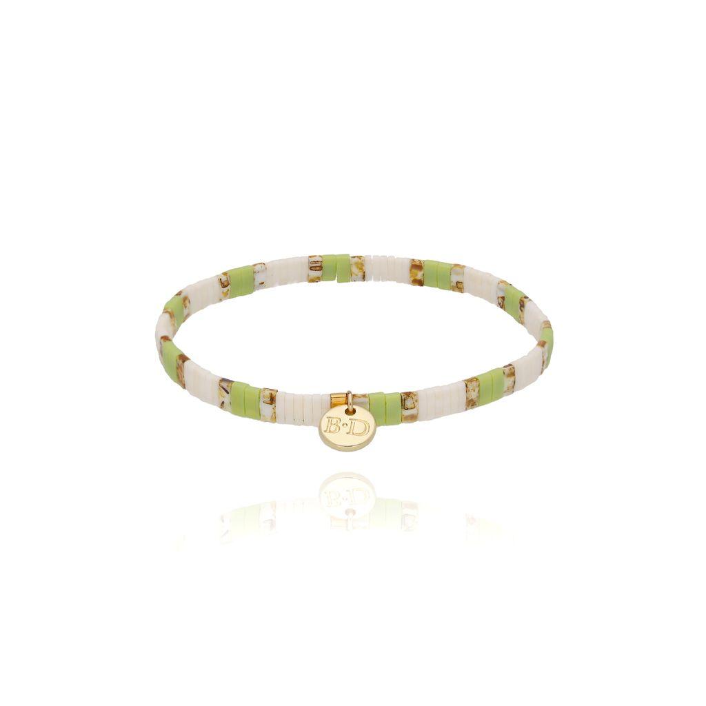 Bransoletka elastyczna zielono biała  BLB0059